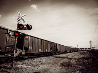 Railroad Crossing in Black and White - Cargo on Train - North Saint Louis, MO