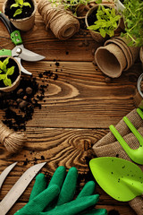 gardening tools and plants. frame background