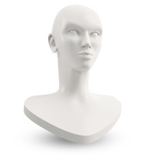 white female mannequin head for makeup lesson
