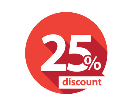 25 percent discount  red circle