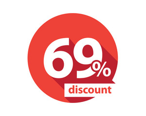 69 percent discount red circle