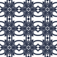 Seamless background image of vintage blue triangle cross round geometry pattern.