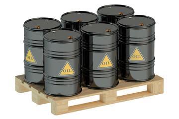 black oil barrels on pallet