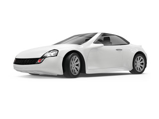 concept of a white sports car on white background, 3d rendered illustration