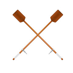 Two crossed old oars in brown design