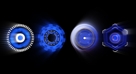 Blue designs pop out HUD user interface