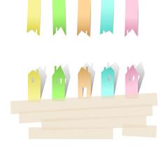 Фон для текста из нескольких  стилизованных домиков, вырезанных из бумажных разноцветных стикеров, скреплённых скотчем. Проект, строительство, ипотека, аренда, собственность.