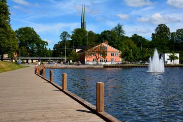 Blick über den See in Växjö