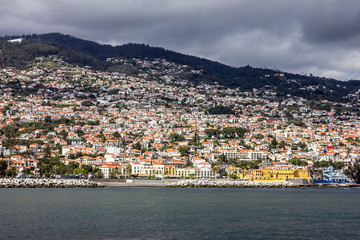 Seafront of Funchal town, Madeira, Portugal. Old castle Fortalez