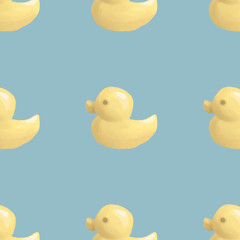 Yellow duck isolated illustration - seamless background on light blue background