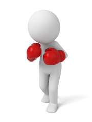 3d people with red boxing gloves. 3d image. Isolated white background