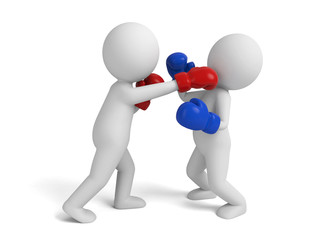 Two boxers in the match. 3d image. Isolated white background