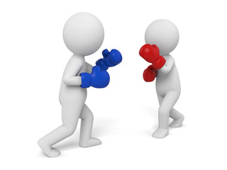 Two boxers in the match. 3d image. Isolated white background.