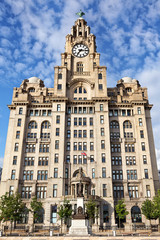 Royal Liver Building an der Mersey Promenade in Liverpool