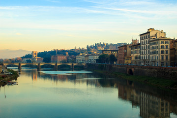 Cityscape of Florence and Arno river seen from Ponte Vecchio