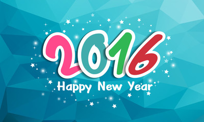 happy new year 2016 on polygon background,vector
