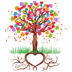 Albero con Cuori Colorati - Colorful Love Tree