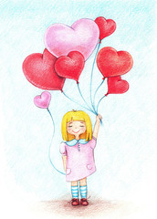 Hands drawn picture of young girl air with balloons by the color pencils