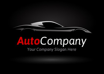 Modern Auto Company Vehicle Logo Design Concept with Sports Car Silhouette on black background. Vector illustration.
