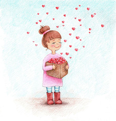 Child's picture of girl with the box of hearts by the pencils.