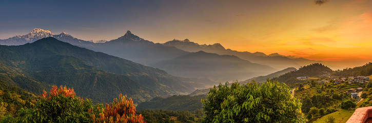 Poster Mountains Sunrise over Himalaya mountains
