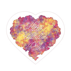 Template of greeting card for Valentine's day. Abstract heart with handwritten inscription. Watercolor imitation or oil paints. Vector, EPS 10