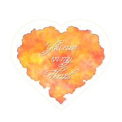Template of greeting card for Valentine's day. Abstract heart with handwritten inscription. You are in my heart. Watercolor imitation. Vector, EPS 10