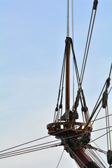 The ropes on the ship