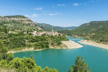Village near a dam in Spain