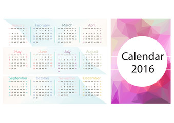 Simple calendar 2016.Abstract calendar for 2016.Week starts from
