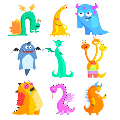 Cute Monsters and Aliens. Colourful Set