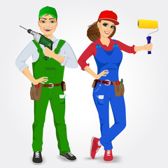portrait of handyman and handywoman