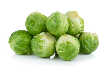 Aluminium Prints Brussels Group of Brussel Sprouts isolated on white background