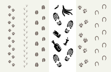 Traces of animals and humans. Poster for the Protection of the Environment. Vector illustration