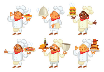 Chef serving the dish. Funny cartoon character