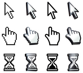 Cursor. Hand, arrow, hourglass, magnifying