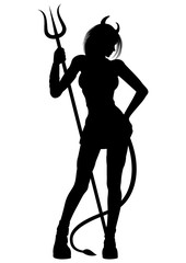 Devil girl silhouette Illustration a woman with a pitchfork. She has a tail and horns