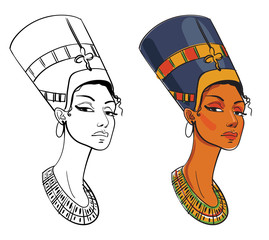 Nefertiti. Vector illustration. Isolated on white background. Color and black and white image