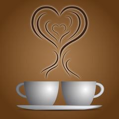 Sfondo tazzine caffè e aroma cuore