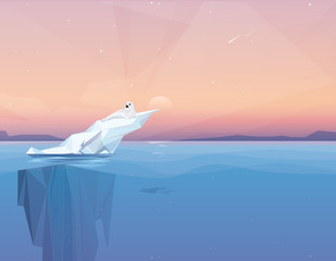 Harp seal on a melting iceberg in the arctic ocean under sunset.