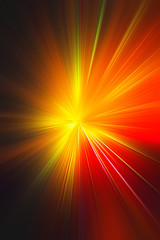 Esplosione di luce giallo arancio rossa