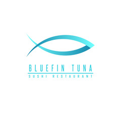 Bluefin tuna logo fish silhouette, mockup sushi restaurant, design element fishing club emblem