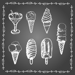 Chalk ice cream set.