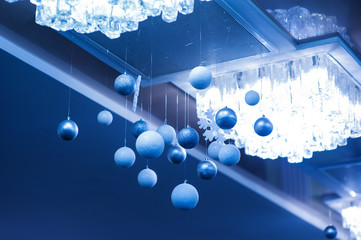 Christmas glass balls decoration, holiday background illustration