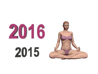 Happy New Year in yoga - 3d render
