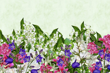 Floral background. Flowers lilies of the valley
