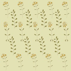 Floral texture, orange flowers, kaki leaves on a beige background, pastel colors, hand drawing, vector