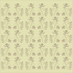 Floral texture, pink leaves, flowers, birds, on a beige background, pastel colors, thin black lines, drawing vector