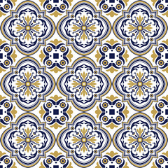 Seamless background image of vintage yellow blue spiral round flower pattern.