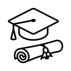 Graduation cap / hat with diploma line art icon for apps and websites